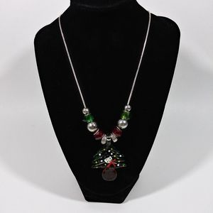 925 Silver Glass Beaded Christmas Tree Necklace 18